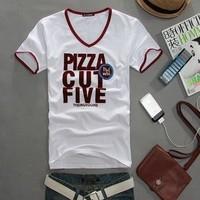 hot new fashion Wholesale brand Men T-Shirts,man's V neck clothing v-neck t shirt men free shipping M to XXL size black&white