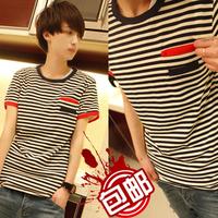 2013 hot new fashion Men T-Shirts man's clothing o-neck t shirt men stripe short sleeves free shipping t-shirt for men