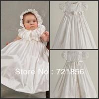 CL-04 Crazy Hot!!2013 New Arrival Lovely White Good Quality Handmake Bow Taffeta Baby Christening/Baptism Dresses