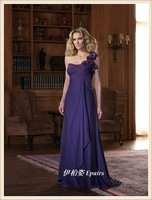 One shoulder purple mother clothing mother of bride dress