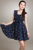 Ruffles Hem Dresss Women's Fashion Printed Cotton Bow Dresses 71595  2012 Summer New Round Neck Dress Blue/Beige Free Shipping
