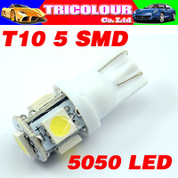 TRICOLOR Lowest! 10 X T10 194 168 501 W5W 5 SMD 5050 Car Wedge Turn signal Clearance license plate Led white Free shipping#LB12
