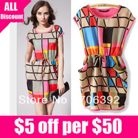 Free shipping 2013 fashion women summer casual dress sleeveless colors geometric polka waist dress chiffon sundress 1pcs/lot
