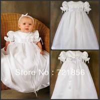 CL-07 Free Shipping!!2013 New Arrival Lovely White Good Quality Handmake Taffeta Baby Christening/Baptism Dresses