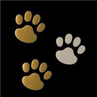 New Arrival Wholesale 50sets /lot Silver/Golden  Badge Emblem Vinyl Dog Footprints 3D Car Stickers Decal Sticker 2 PCS per set