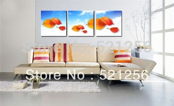 3 Pieces Free Shipping Modern Wall Oil Painting Abstract Red Leaves Wall Art Picture Paint on Canvas Prints BLAP442