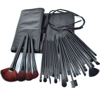 32 Pcs Cosmetic Brush Set Professional Make up Tools Eyebrow Eyeshadow Eyelashes Check Brushes Bag Soft Free Ship RB7- 64