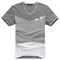 HOT new fashion Men's clothing summer male short-sleeve T-shirt  slim 100% men's cotton clothing short t shirt for men  2 colors