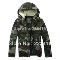 mens winter military camouflage parka jacket hunting camo military coat hood fur