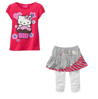 new brand 2013 children cartoon hello kitty clothing sets baby girls t shirt summer skirt leggings pants sport clothes set girl