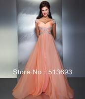 Fancy Free Shipping Beaded Chiffon Long Sweetheart New Prom Dress 2014