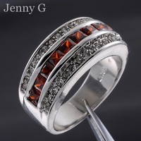 Jenny G Jewelry Popular Size 8,9,10,11,12 Red Garnet 10KT White Gold Filled Cocktail Band Ring for Men