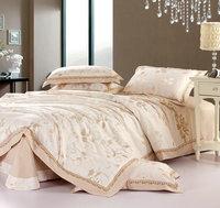 bed linen Sateen 100% Cotton 4 pcs Queen/King beige camel leaves pattern comforter/duvet/quilt covers bedding sets
