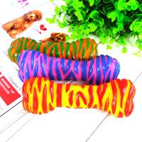 10Pcs/Lot Free Shipping Zebra Bone-Shaped Vinyl Dog Sound Toys Bone Chew Toys for Dogs