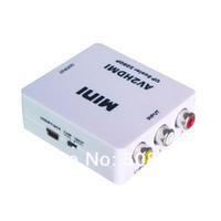 New Mini AV/CVBS Composite RCA to HDMI 720p/1080p Upscaling Video Converter Adapter White Free Shipping