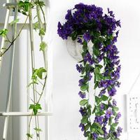 200 buds/90cm Lifelike Violet Orchid Ivy Artificial Flower Hanging Plant Silk Garland Vine 6 Colors,African Violet