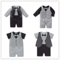 Newborn Baby Clothes Infant Wear Baby Rompers False Twinset Bowtie Gentlemen Style Cotton Jumpsuit Toddler Baby Boys Romper