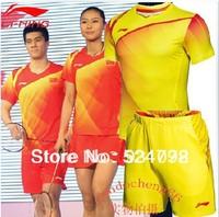 New 2012 Li-Ning Badminton men's 2013- the Chinese national badminton team shirt+shorts