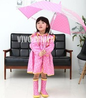 Princess polka dot raincoat ultra-thin female child poncho ultra-light transparent umbrella rain boots