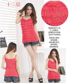 Free Shipping women's sexy fashion 039 spring and summer layers of cake lace decoration rhinestones small vest sweater