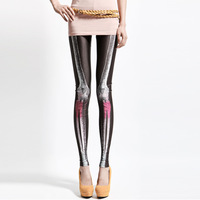 2013 spring and autumn new arrival personalized pants multicolour bones legging color block decoration skull pattern slim