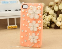 Free Shipping Fashion Back Case Cover case For iPhone5 with crystal New cherry blossom tassel wholesale mobile phone cases