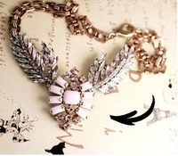 2013 Fashion design antique angel wing crystal stone statement necklace women choker vintage jewelry wholesale, Free shipping