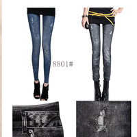 Free Shipping women's sexy fashion Faux denim legging slim long paragraph thin plus size skinny pants pencil pants female 8801