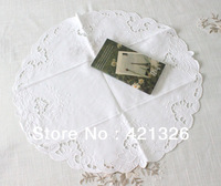 Hot Popular Round 20''  Size  White Color 100% Cotton Hand Embroidery Cutwork Table mat  Doily For Home T140RD
