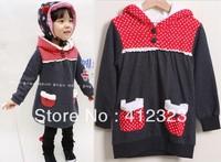 wholesell kids girls autumn warm fashion jacket coat hoody baby children Christmas long outwear coats hoodies clothing