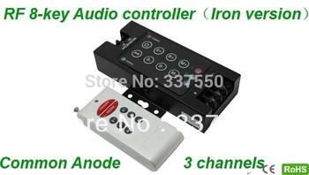 DC12V-24V 3 Channels 433.92Mhz Led Wireless RF Audio 8-key Controller/led RF RGB controller for RGB strips,12V/144W, 24V/288W