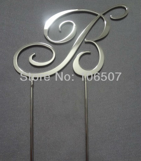 50% discounts Buy one get one free( 2pcs) METAL monogram cake topper 2.7''(7cm) RCE07-2B wedding party decor favor HOT SELLING(China (Mainland))