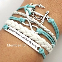 Free Shipping!12pcs/lot!Silver Alloy Anchors Leather Suede Cuff Bracelet Charm Fashion Infinity Men Costume Summer Jewelry K-003