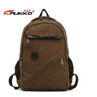 KAUKKO FJ27 men backpack women school bag 100% cotton canvas 14 inch laptop bag travel bag retail and wholesale