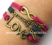 Free Shipping!12pcs/lot!Weave Infinity LOVE Eiffel Tower Antique Bronze Red Grey Leather Cute Bracelet Fashion Jewelry K-002