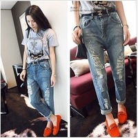 Free Shipping women's sexy fashion 2666 street style knee cat's claw loose jeans