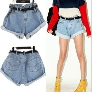 Free Shipping women's sexy fashion Vintage high waist 2638 water wash light blue thin loose denim shorts belt