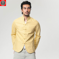 Flowers Sheng Kee Chinese Super Slim Wind Jiu Selu lean male costume Chinese improved cotton yellow