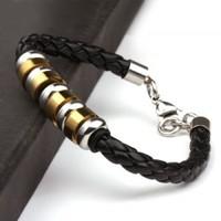 Factory Direct Wholesale 18k gold  Men And Women Unisex Stainless Bracelet Titanium Steel black leather braided Bracelet x3219