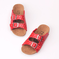 2013 children shoes dot slippers double buckles the size of female shoes red