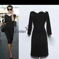 2013 Autumn plus size new fashion Victoria Beckham style women black turtleneck elegant patchwork 3/4 sleeve knee-length dress