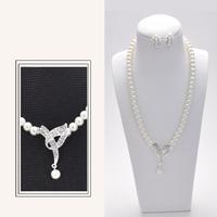 New Fashion Wedding Prom Imitation Pearl Rhinestone Necklace Earring Set Bow Pendant