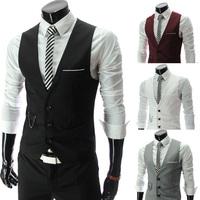 Free Shipping New Fashion Korean Slim V-neck vest sportsman 4 color into US size:XS,S,M,L    9084