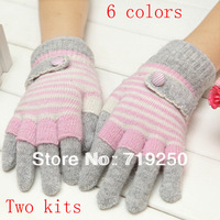 Hot Sale ,Free shipping,women's Rabbit Fur Knitted Gloves lovely winter pure manual weaving upset warm fashion Gloves,6 colors