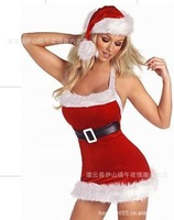 free shipping Christmas women's dress costumes sexy lingerie game uniforms Rabbit red dress