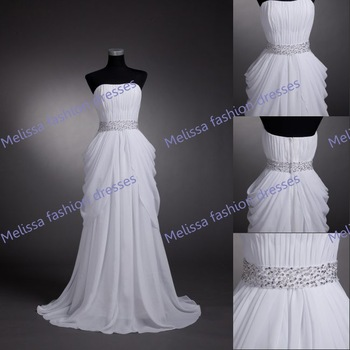 Real Sample High Quality Guarantee Summer Strapless A-line shape Taffeta Lace Up Back Ruffle Wedding Dress