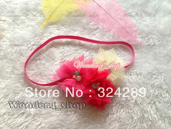 "Hair accessory 12pcs Wholesale 2.5"" Tull Mesh flowers with Rhinestone Crystal pearl center Elatic Thin headbands for baby girls"