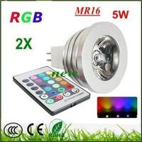 2X RGB 5W wireless remoted control 16 color change LED Spot light lamp MR16 G10 E27 E14 Good quality