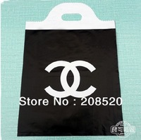 AD183 free shipping 50pcs/lot 30*40cm famous Chan lace plastic gift bag with handle for boutique shopping black