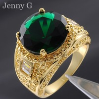 Jenny G Jewelry Size 10,11,12 Big Green Emerald 18K Yellow Gold Filled Cocktail Ring for Men